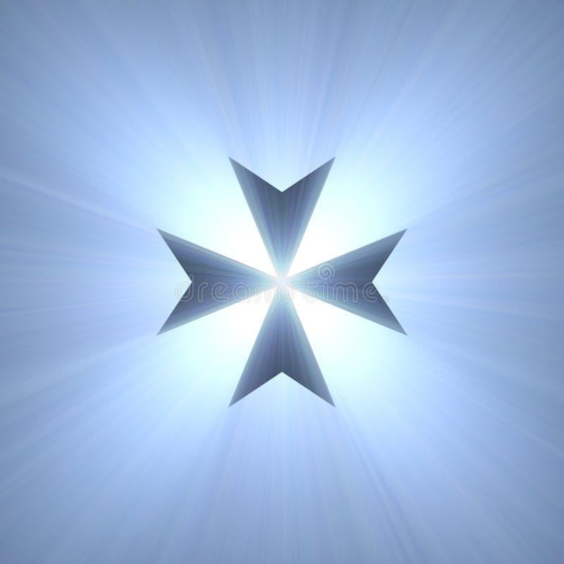 För symbolblått för maltesiskt kors signalljus för ljus royaltyfri illustrationer