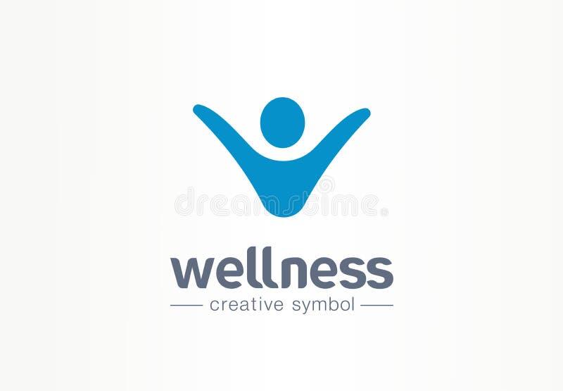 För symbollivsstil för Wellness idérikt begrepp Logo för kondition för affär för lycklig energiperson abstrakt Folksucces, frihet vektor illustrationer