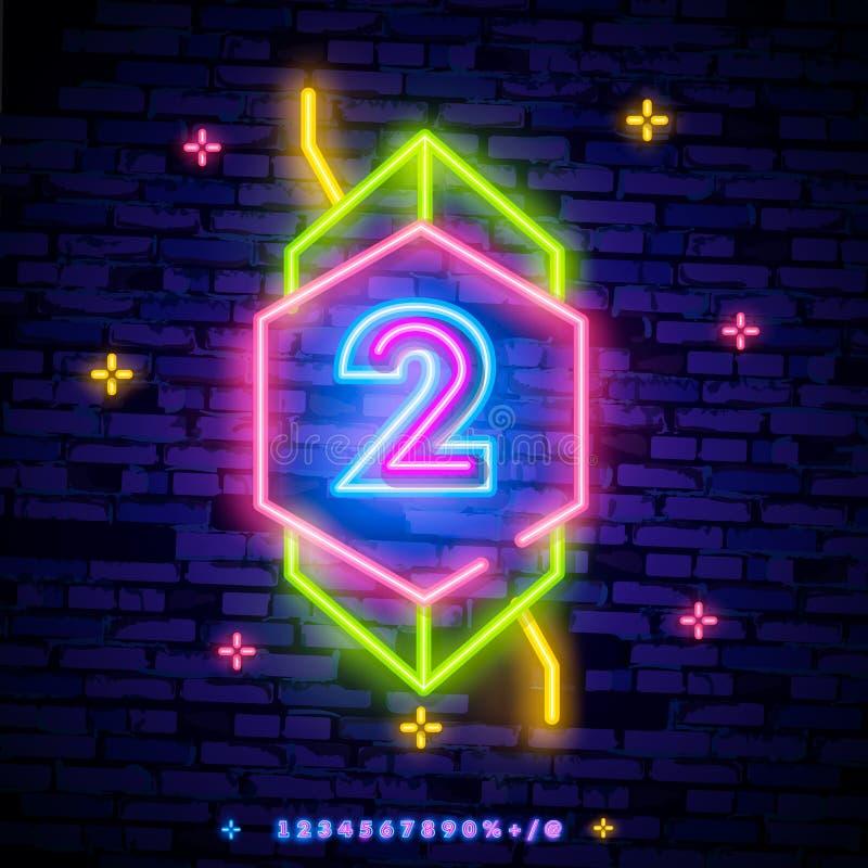För symbolneon för nummer två vektor för tecken I andra hand för mallneon för nummer två symbol, ljust baner, neonskylt, nightly  royaltyfria bilder