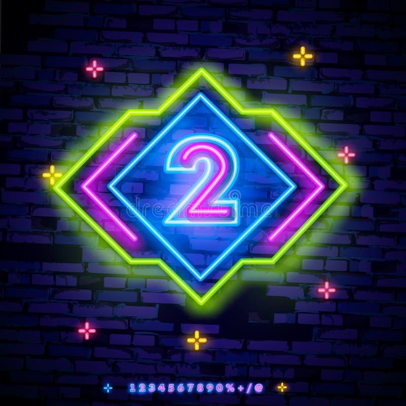 För symbolneon för nummer två vektor för tecken I andra hand för mallneon för nummer två symbol, ljust baner, neonskylt, nightly  royaltyfri illustrationer
