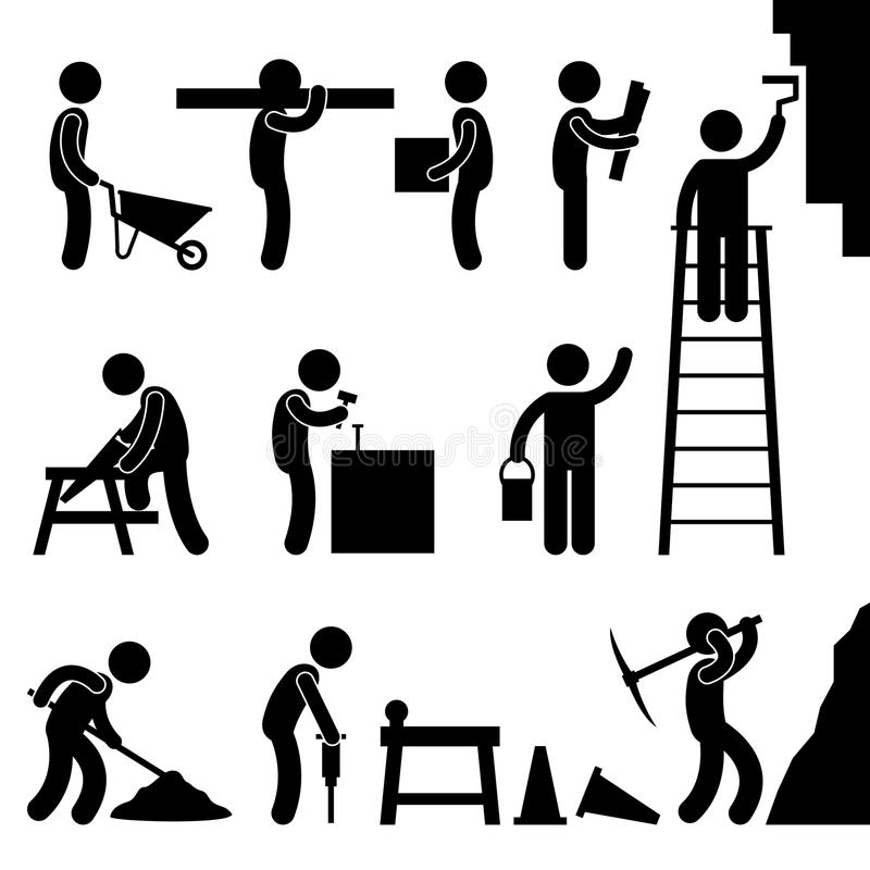 för symbolsarbete för konstruktion hård working för sym för pictogram stock illustrationer