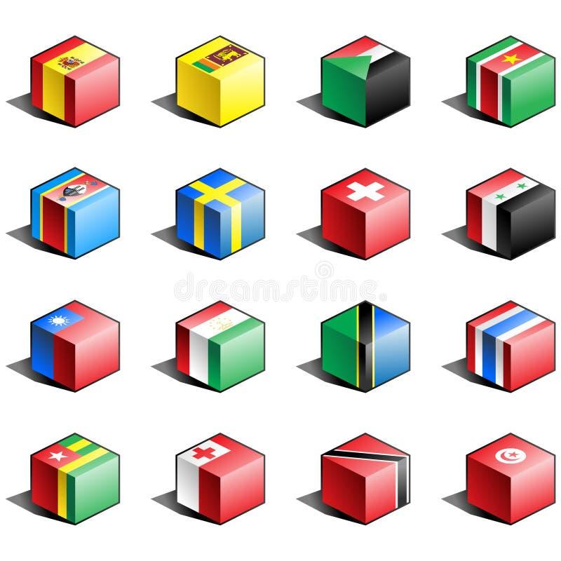 för symbolsdel för 11 flagga set royaltyfri illustrationer