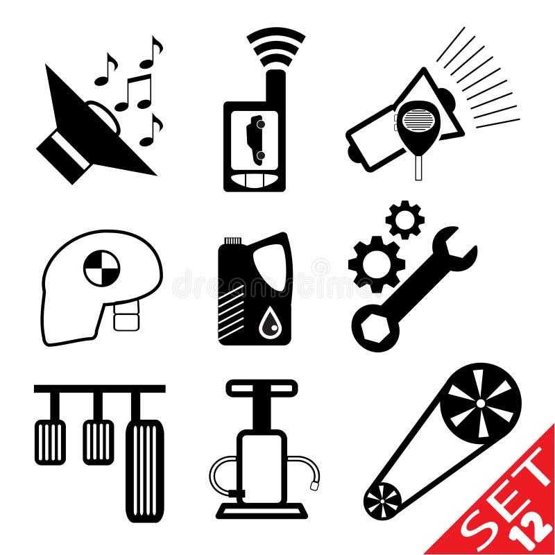 för symbolsdel för 12 bil set stock illustrationer