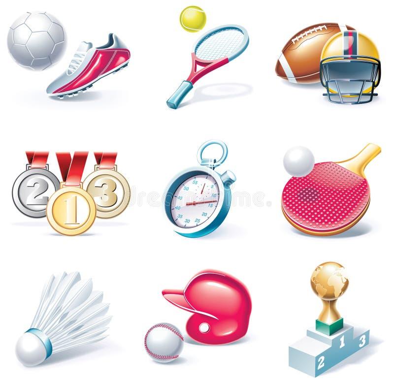 för symbolsdel för 34 tecknad film vektor för stil för sport set vektor illustrationer
