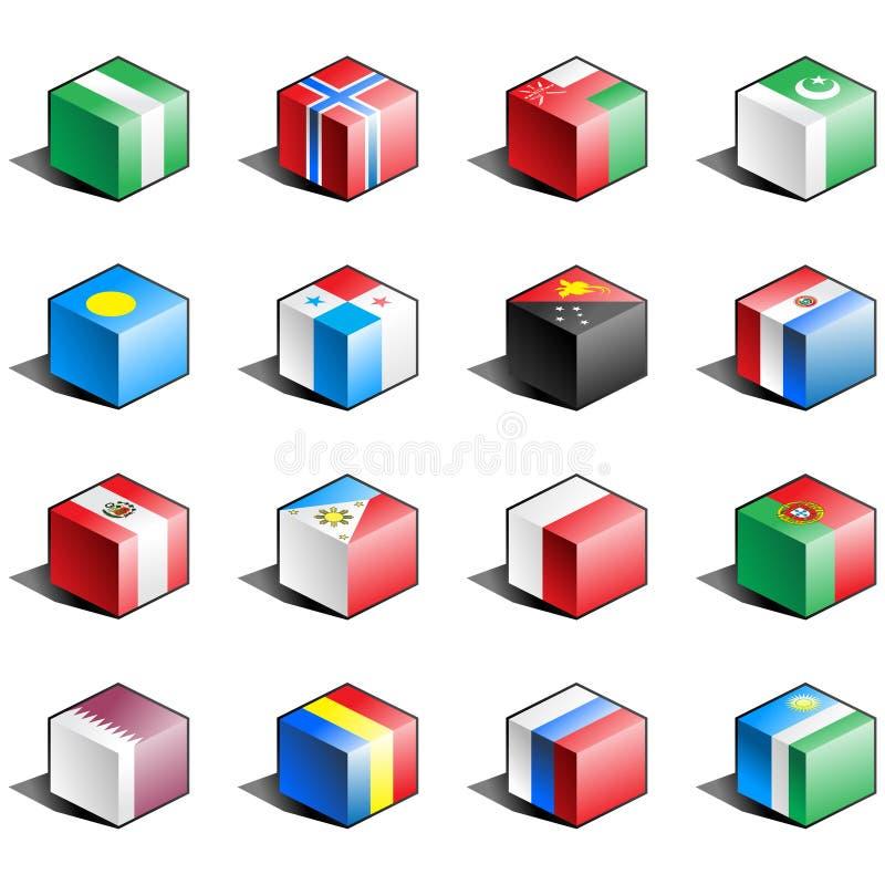 för symbolsdel för 9 flagga set stock illustrationer