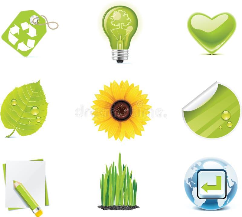 för symbolsdel för ekologi 4 set vektor stock illustrationer