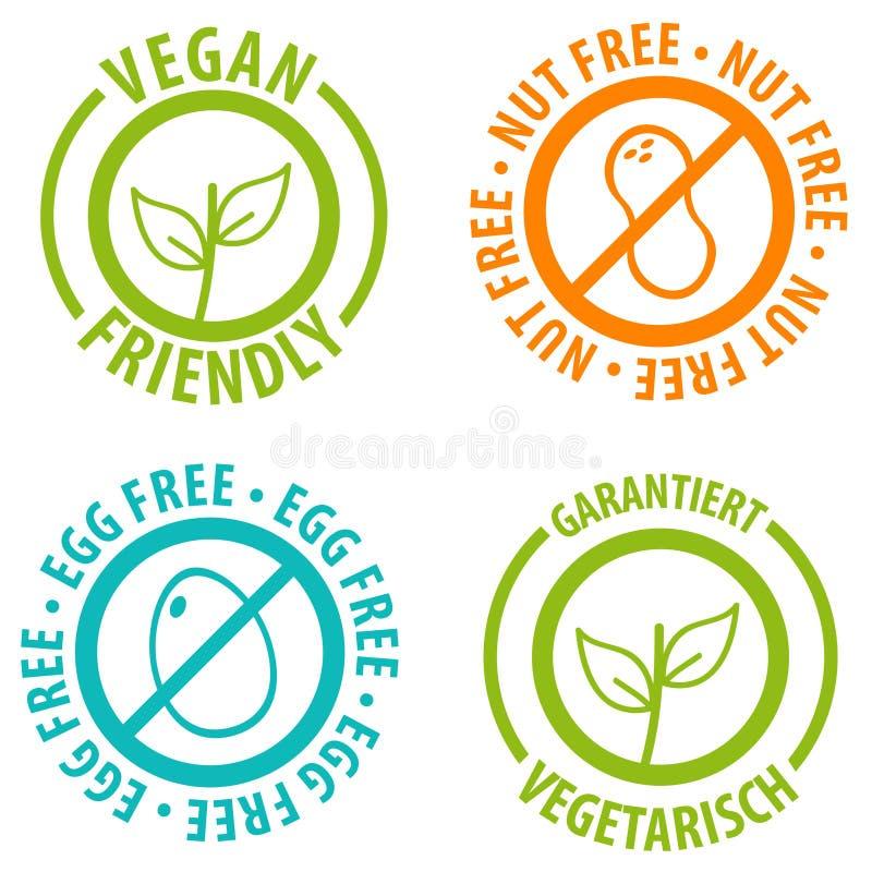 För symbolsemblem för strikt vegetarian vänlig design Fri mutter och ägg fria Bagdes arkivfoton