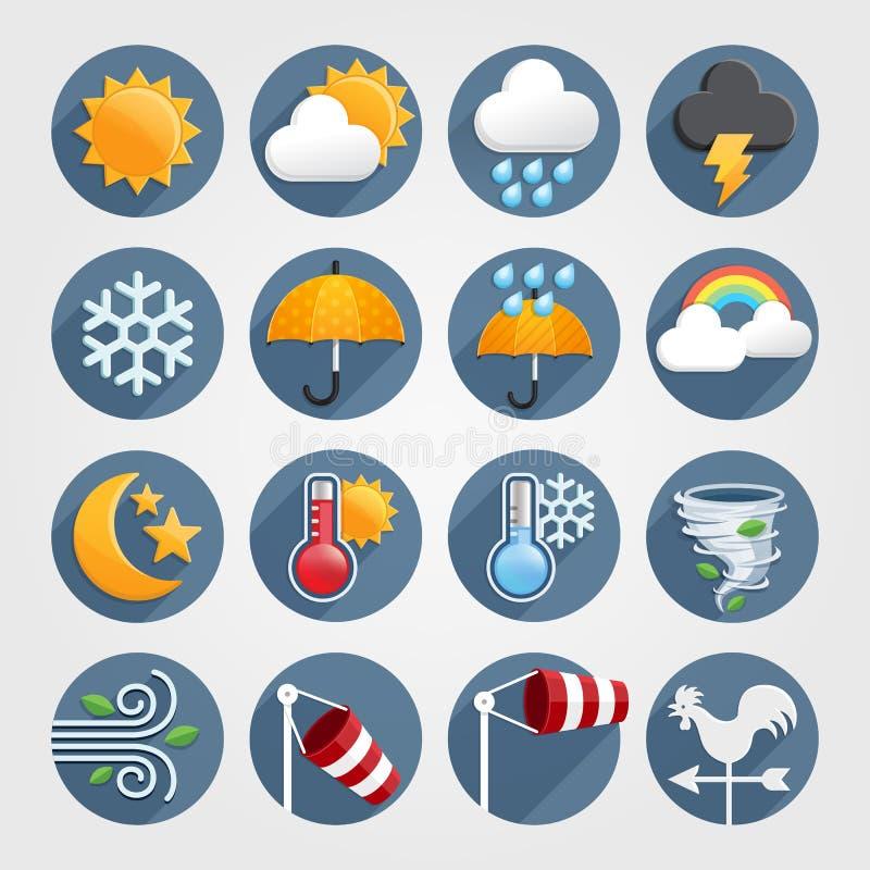 För symbolsfärg för väder plan uppsättning royaltyfri illustrationer