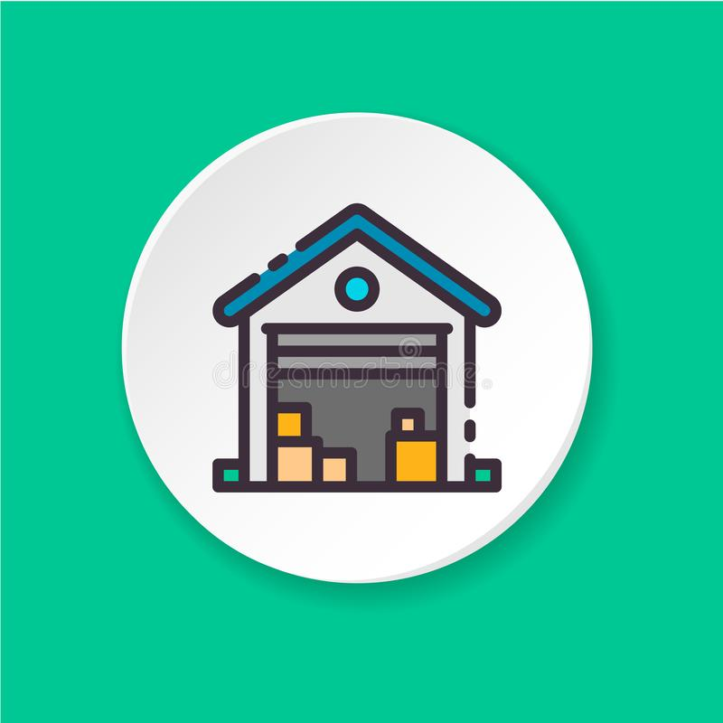 För symbolsgarage för vektor plan försäljning moving stock illustrationer