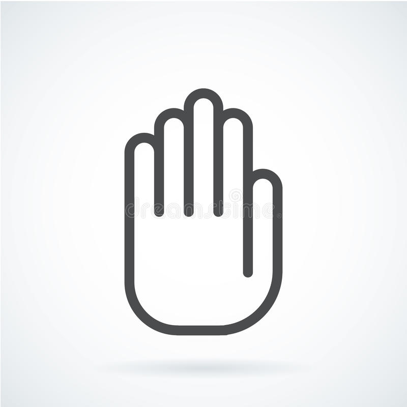 För symbolsgesten för svart gömma i handflatan den plana handen av ett mänskligt stopp, royaltyfri illustrationer