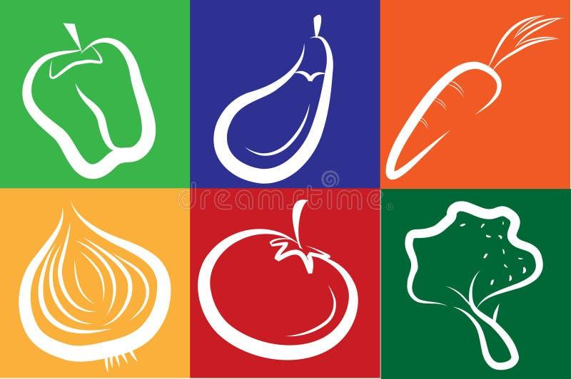 för symbolsgrönsak för bakgrund färgrik white royaltyfri illustrationer