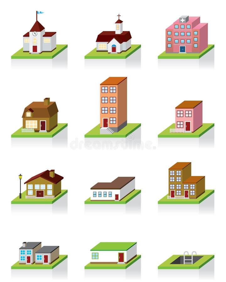 för symbolsillustration för byggnad 3d vektor royaltyfri illustrationer