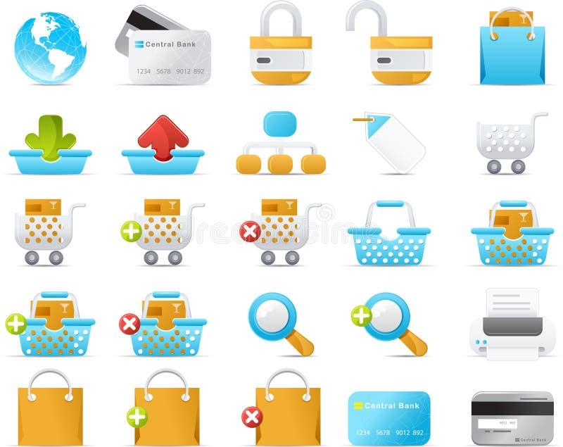för symbolsinternet för kommers e set för nouve stock illustrationer