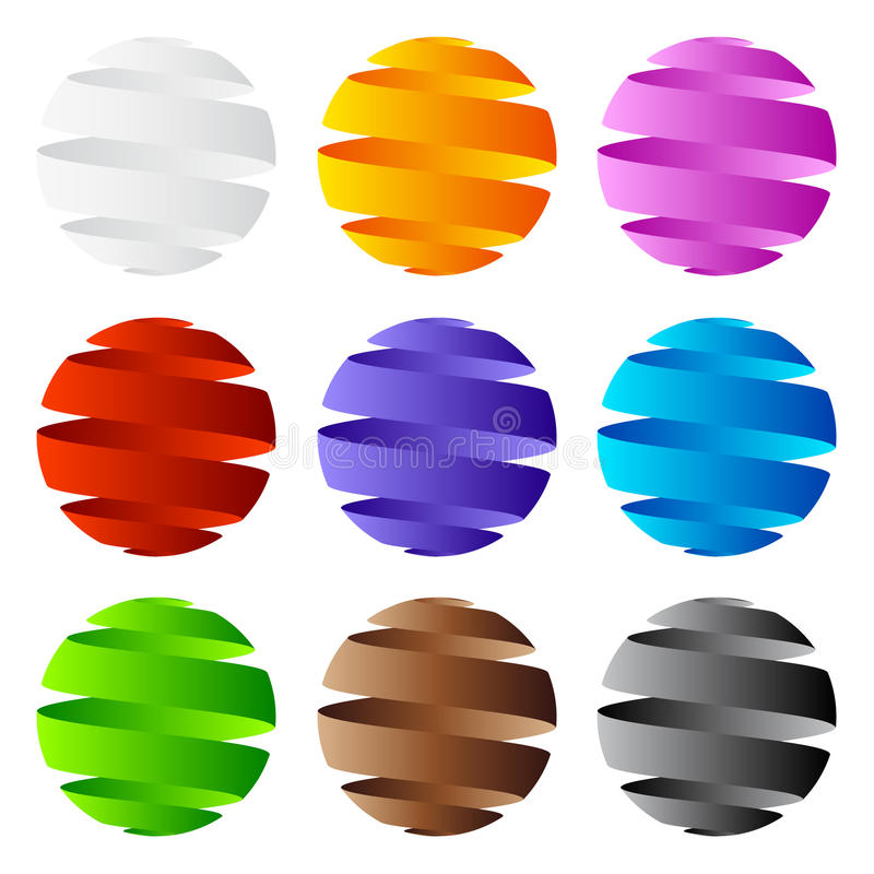 för symbolslogo för design 3d sphere stock illustrationer