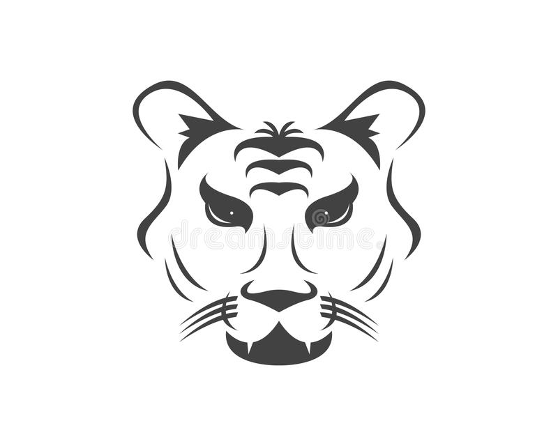För symbolslogo för tiger head illustration för vektor stock illustrationer
