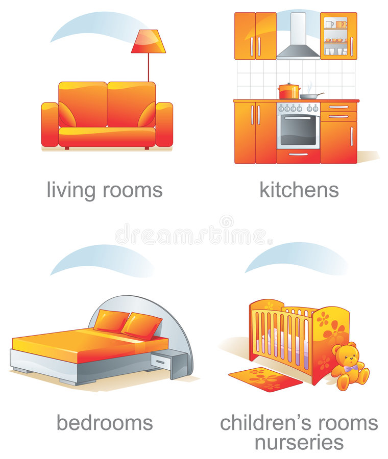 för symbolsobjekt för möblemang home set stock illustrationer