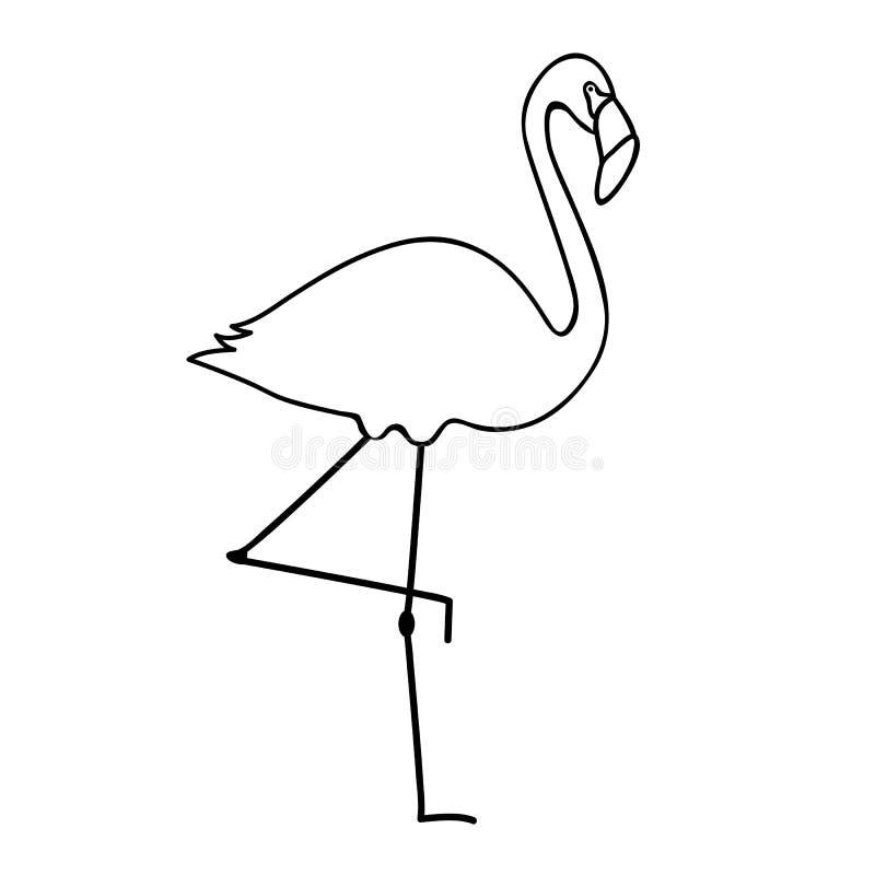 För symbolspictogram för flamingo enkel översikt royaltyfri illustrationer