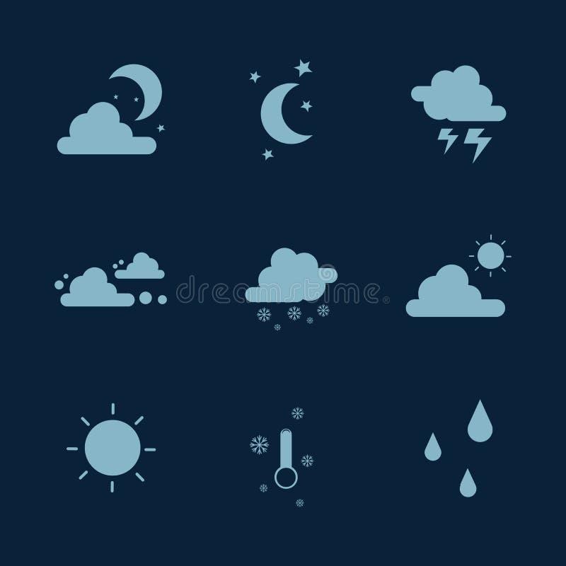 För symbolssamling för väder fastställt materiel vektor illustrationer