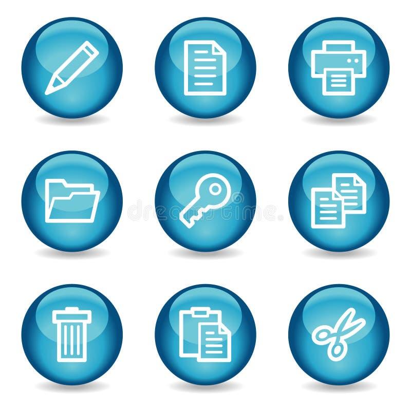 för symbolsserie för blå förlaga glansig rengöringsduk för sphere royaltyfri illustrationer