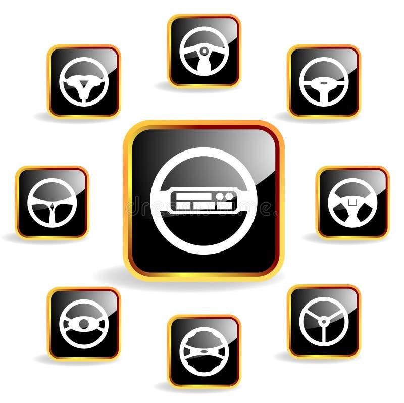 för symbolsstyrning för bil crystal hjul royaltyfri illustrationer