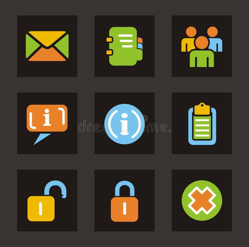 för symbolssymboler för färg allmän serie royaltyfri illustrationer