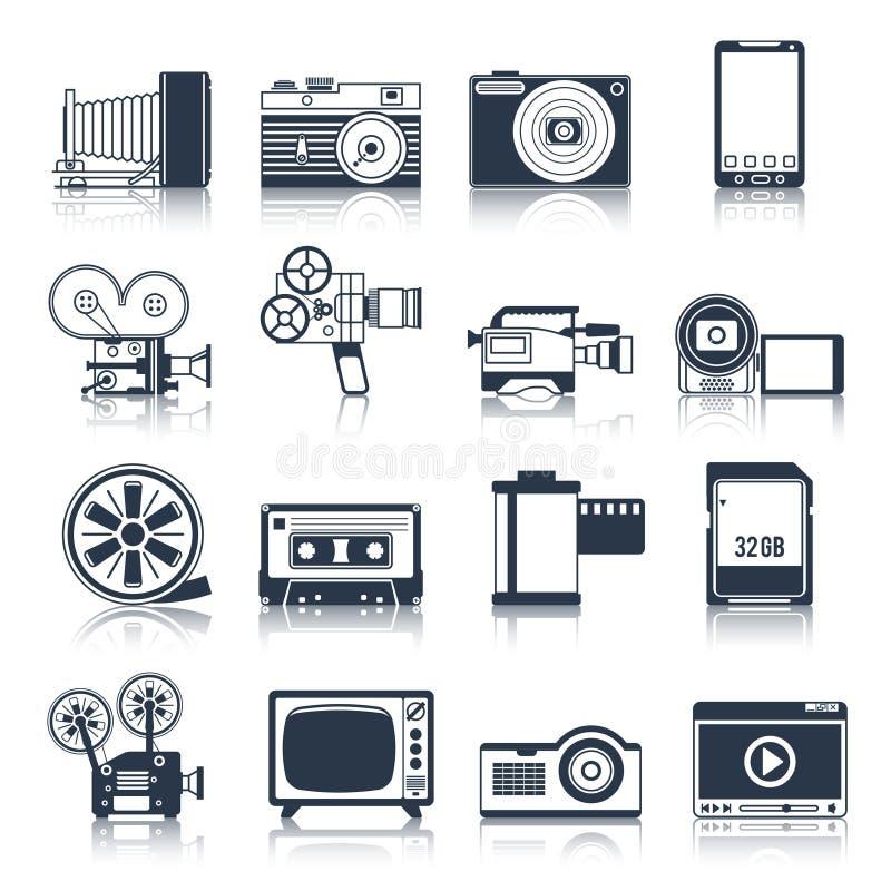 För symbolsuppsättning för foto video svart stock illustrationer