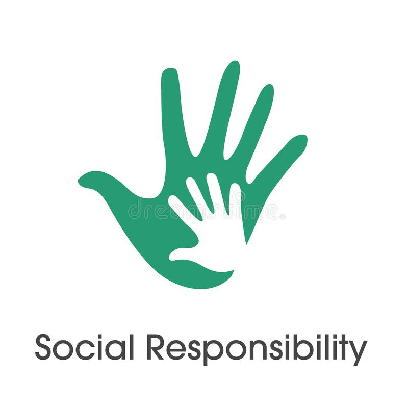 För symbolsuppsättning för socialt ansvar fast ärlighet, fullständighet & sänka för w vektor illustrationer