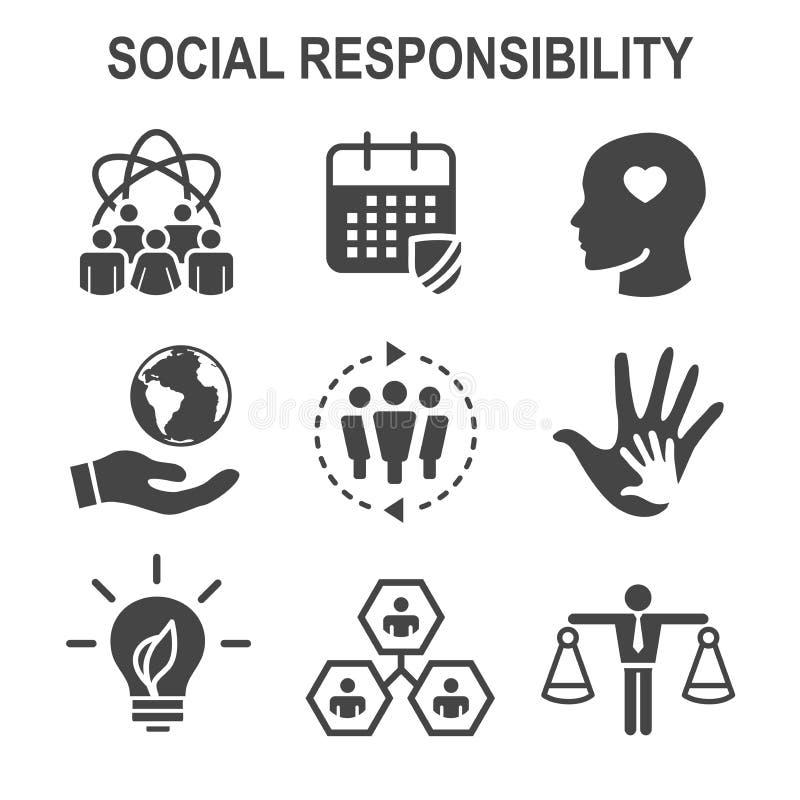 För symbolsuppsättning för socialt ansvar fast ärlighet, fullständighet & sänka för w royaltyfri illustrationer