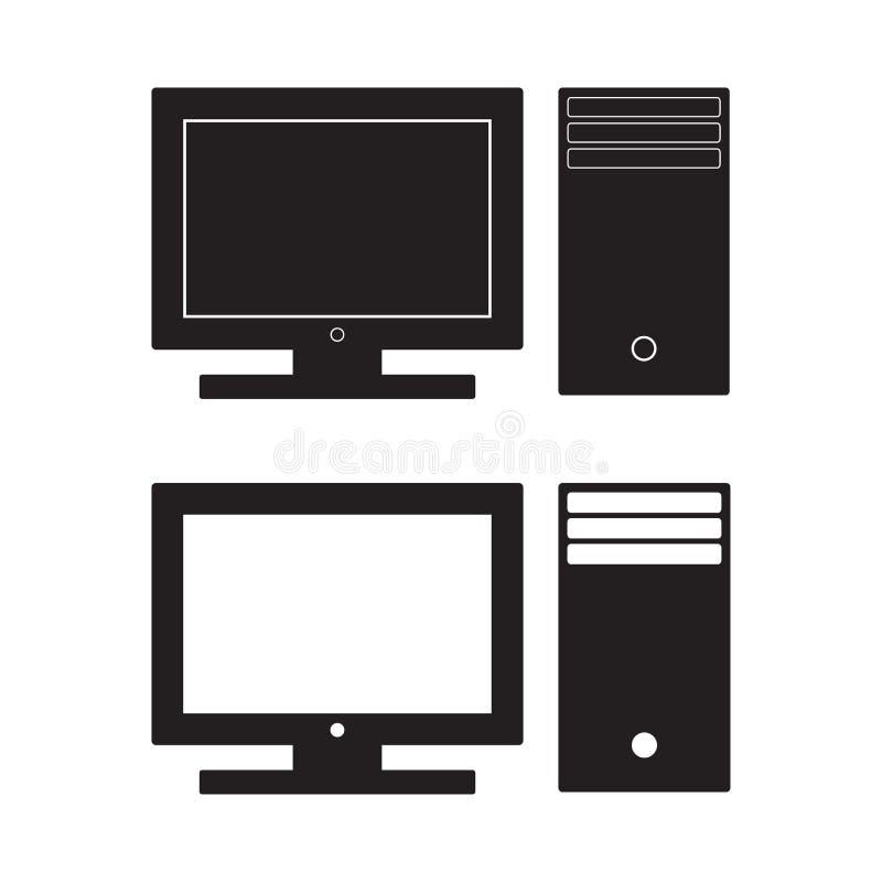 För symbolsvektor för dator skrivbords- illustration PC:N sänker tecknet bakgrund isolerad white royaltyfri illustrationer