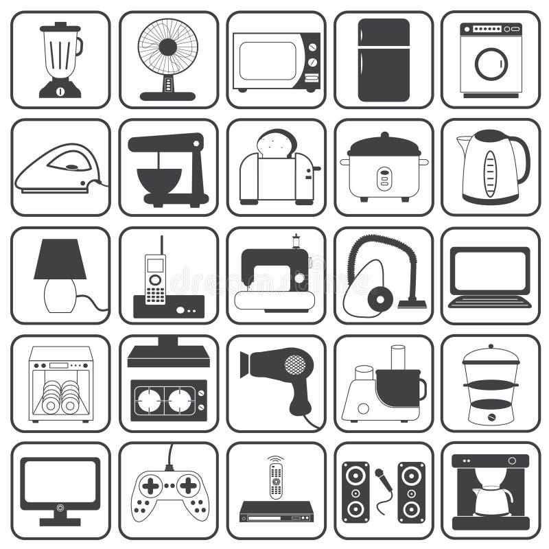 För symbolsvektor för hem- anordning uppsättning royaltyfri illustrationer