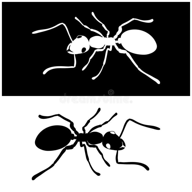 För symbolsvektor för två myror bild royaltyfri illustrationer
