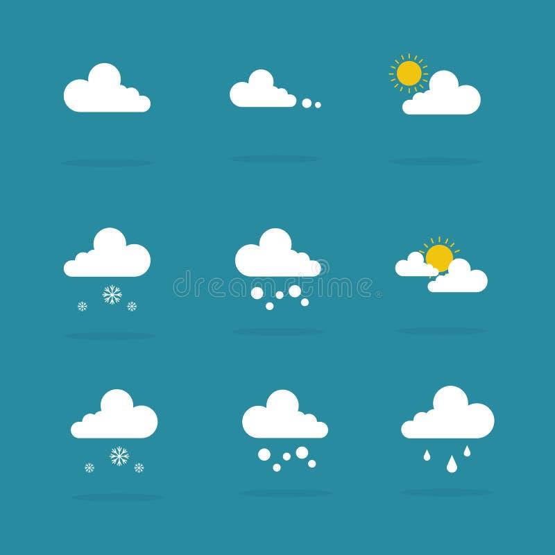 För symbolsvektor för väder fastställd illustration vektor illustrationer