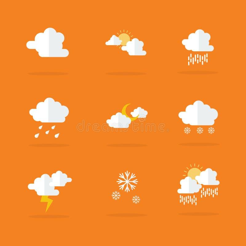 För symbolsvektor för väder fastställd lägenhet royaltyfri illustrationer