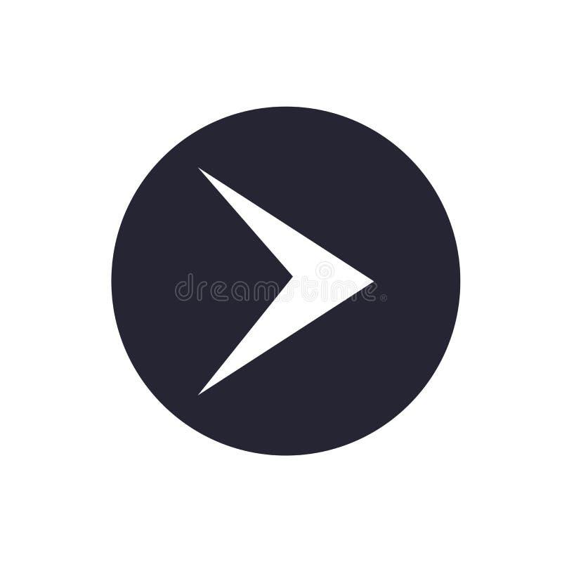 För symbolsvektor för höger pil som tecken och symbol isoleras på vit bakgrund, logobegrepp för höger pil royaltyfri illustrationer