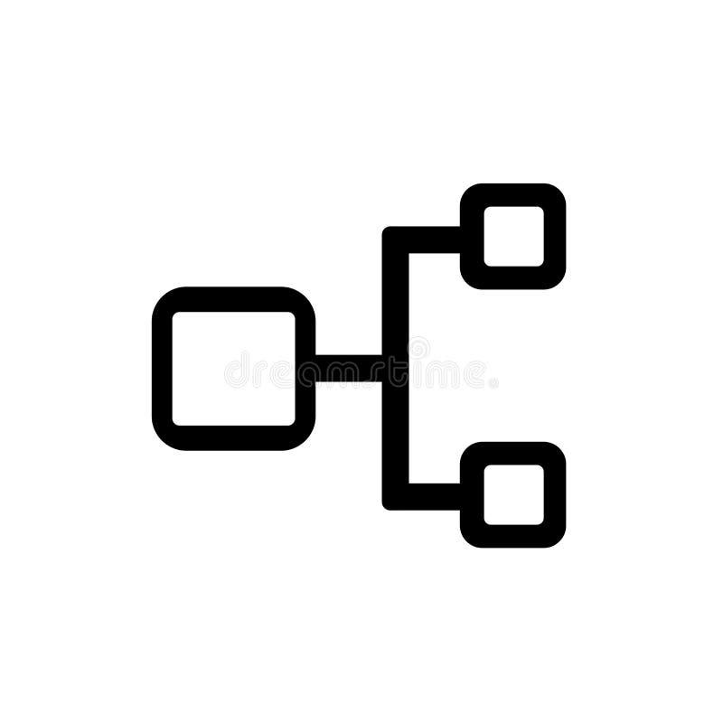 För symbolsvektor för hierarkisk struktur som tecken och symbol isoleras på vit bakgrund stock illustrationer