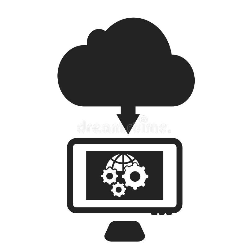 För symbolsvektor för moln som beräknande tecken och symbol isoleras på vit bakgrund, beräknande logobegrepp för moln royaltyfri illustrationer