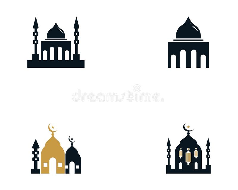 För symbolsvektor för moské moslem illustration för design royaltyfri illustrationer