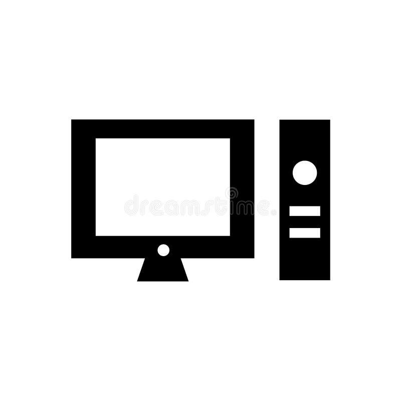 För symbolsvektor för skrivbords- dator som tecken och symbol isoleras på vit bakgrund, logobegrepp för skrivbords- dator vektor illustrationer