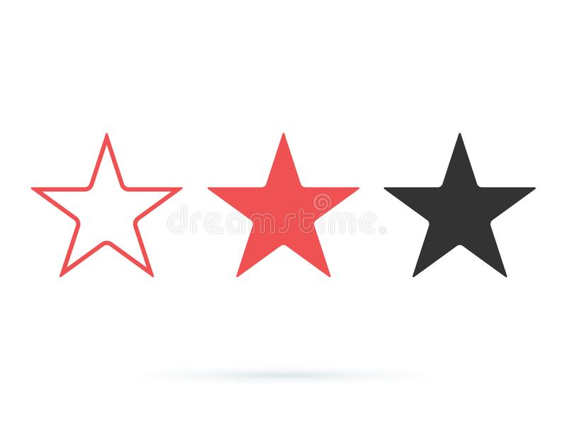 För symbolsvektor för stjärna bästa illustration Värderingen favorit- symboler ställde in heltäckande och linjen symboler Utmärke royaltyfri illustrationer