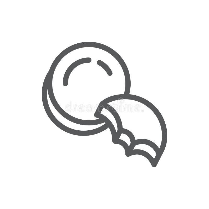 För symbolsvektorn för kakan den redigerbara illustrationen - gör linjen pictogram av det hela och bet av sött bakade kexet tunna stock illustrationer
