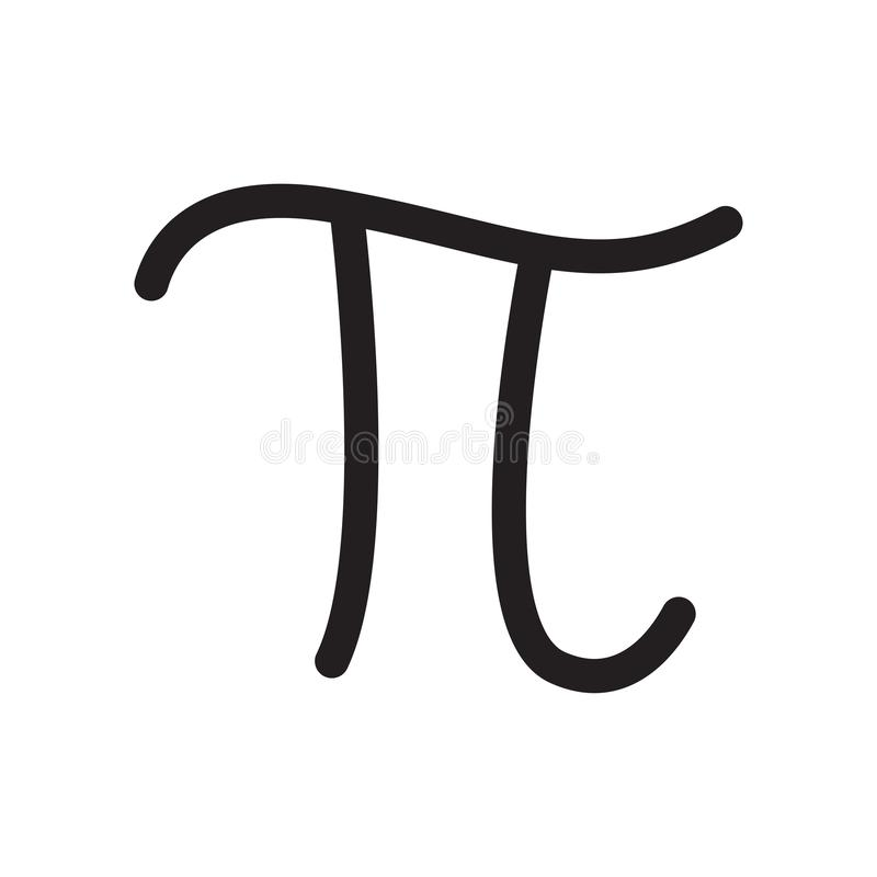 För symbolsymbol för pi som konstant tecken och symbol för vektor isoleras på vit bakgrund, för symbollogo för pi konstant begrep vektor illustrationer