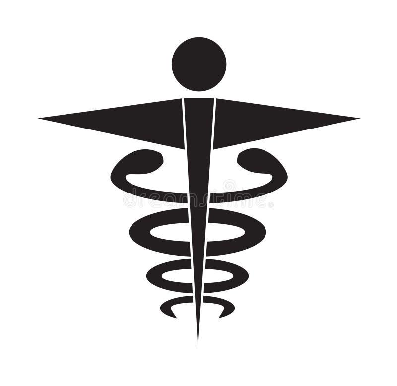 För symbolsymbolen för den svartvita caduceusen isolerade den medicinska vektorn vit bakgrund stock illustrationer