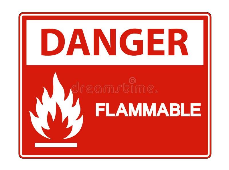 För symboltecken för fara brännbar isolat på vit bakgrund, vektorillustration stock illustrationer