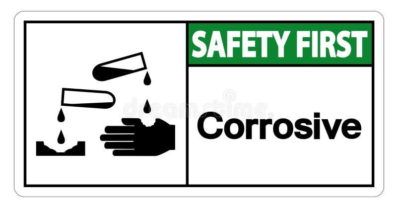 För symboltecken för säkerhet första korrosiva isolat på vit bakgrund, vektorillustration stock illustrationer