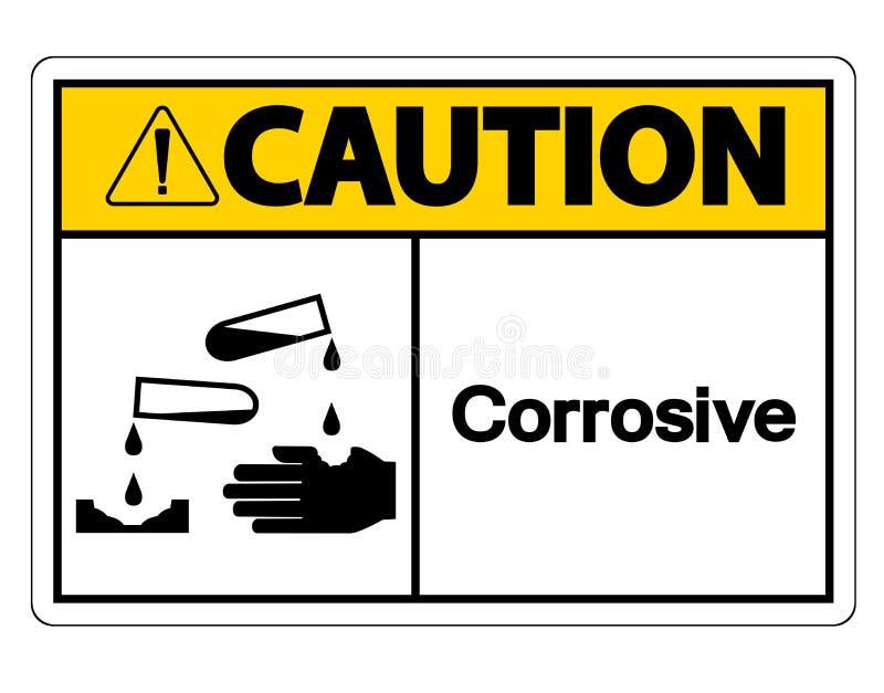 För symboltecken för varning korrosiv isolat på vit bakgrund, vektorillustration vektor illustrationer