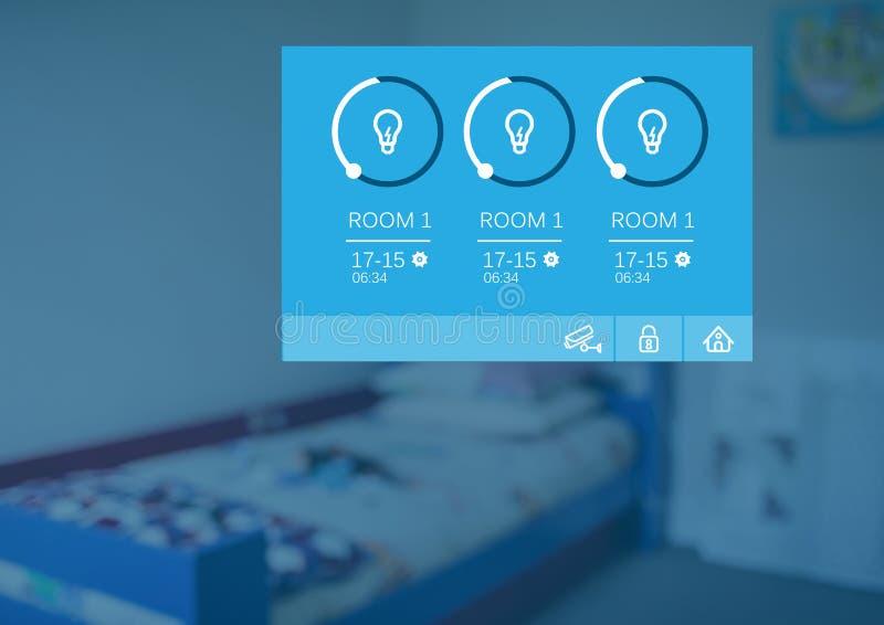 För systemljus för hem- automation manöverenhet för App arkivfoton
