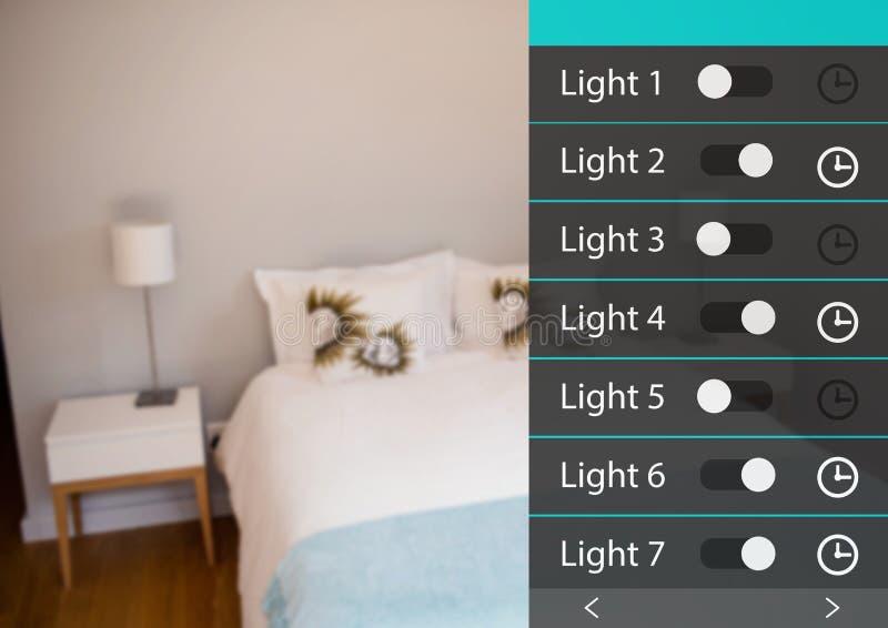 För systemljus för hem- automation manöverenhet för App royaltyfri illustrationer