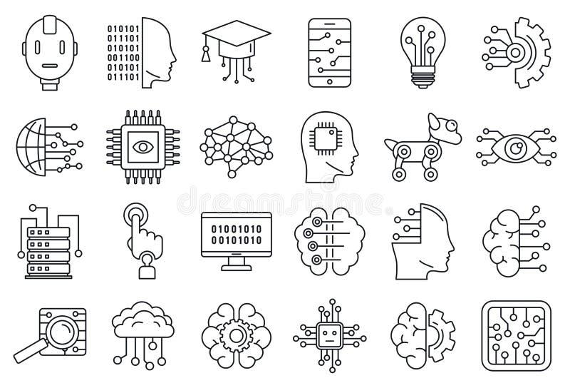 För systemsymboler för konstgjord intelligens uppsättning, översiktsstil stock illustrationer