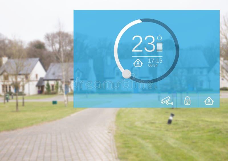 För systemtemperatur för hem- automation manöverenhet för App fotografering för bildbyråer