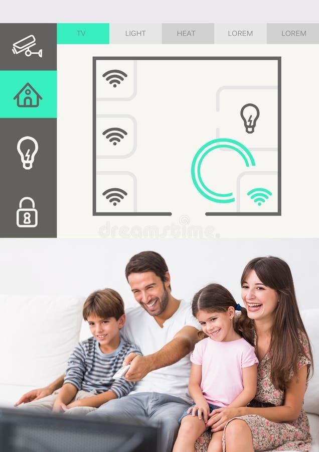 För systemTV för hem- automation manöverenhet för App arkivfoton